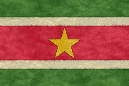 ageing: Suriname flag on ageing paper Stock Photo