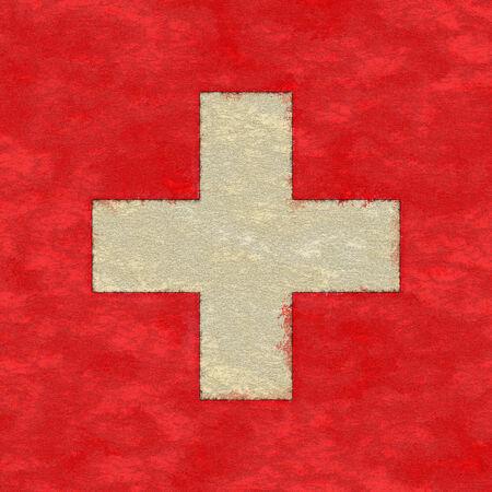 zwitserland vlag: Zwitserland vlag op veroudering papier Stockfoto