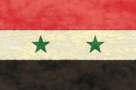 Syrië vlag op veroudering papier