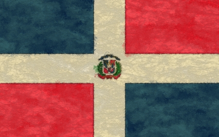 Dominican Republic flag on ageing paper