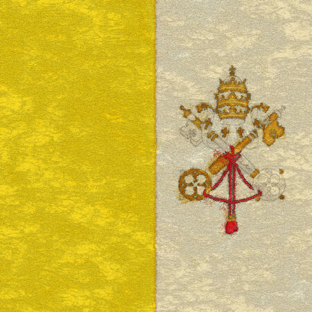 ciudad del vaticano: Bandera de la Ciudad del Vaticano en el papel de envejecimiento Foto de archivo