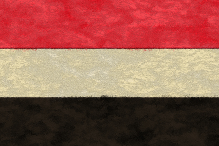 ageing: Yemen flag on ageing paper