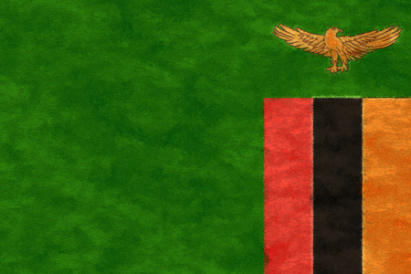 zambia flag: Zambia flag on ageing paper