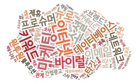 Korean Marketing Keyword Cloud Stock Photo - 25135084