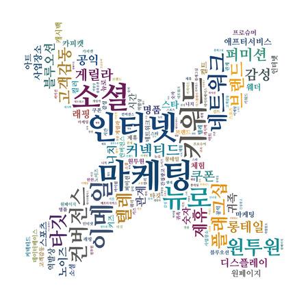 keyword: Korean Marketing Keyword Cloud Stock Photo