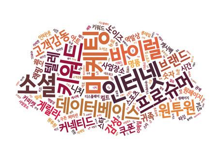 direct mail: Korean Marketing Keyword Cloud Stock Photo