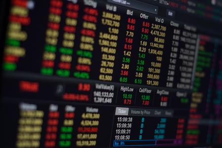 stock ticker board: The stock exchange on computer sceen