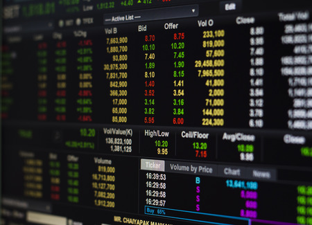 Stock market exchange on the computer screen  photo