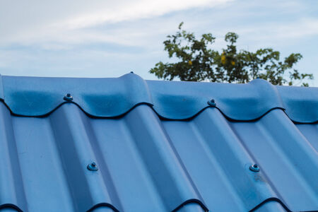 rooftile: Details of blue roof-tile. Stock Photo