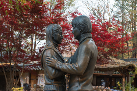 Chuncheon,South Korea - November 06,2014: The photo of famous Statue of Choi Ji-won & Bae Yong Joon at Nami Island in Autumn Season.