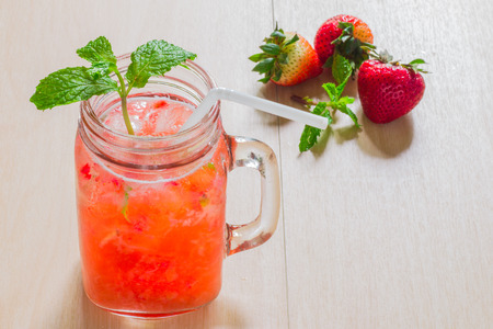 flavors: Strawberry infused water with mint.