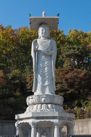 gangnam: Incheon,South Korea - November 04,2014:Photo of buddha at Bongeunsa Temple in Gangnam Stock Photo