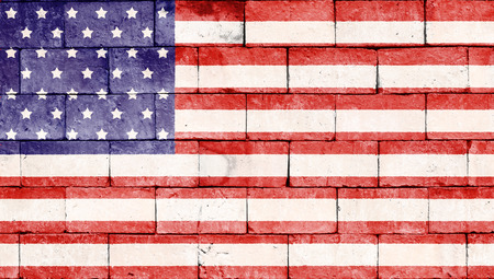 brick and mortar: United states of america flag painted on brick wall texture