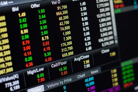 bolsa de valores: Mercado Stock volumn, el volumen de divisas, concepto de negocio.