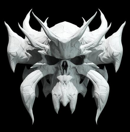 suspenso: Diseño del cráneo en un fondo negro para Halloween.