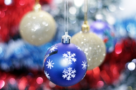 merrychristmas: Christmas toy against the background of new year s tinsel Stock Photo