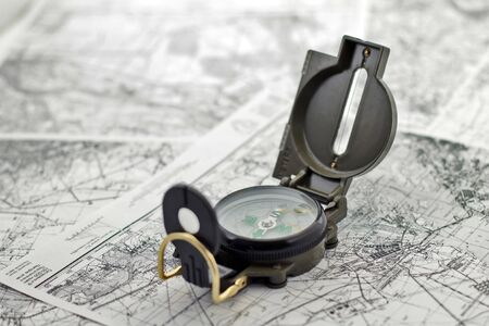 guideline: compass on the background black-and-white city maps