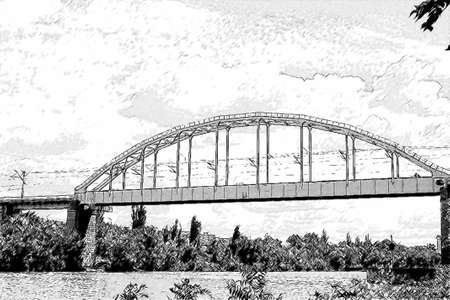 footing: black and white figure of a railway bridge across the river Stock Photo