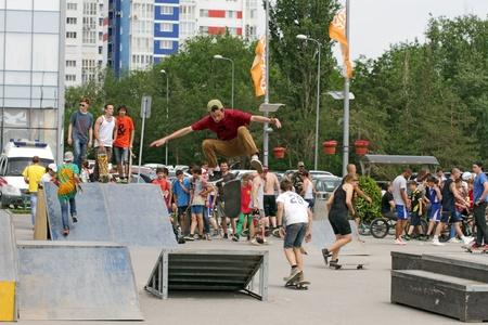 gimmick: Jump through the skaters corner springboard. Competitions for the Cup of Europe city Mall. Volgograd , may 26, 2013