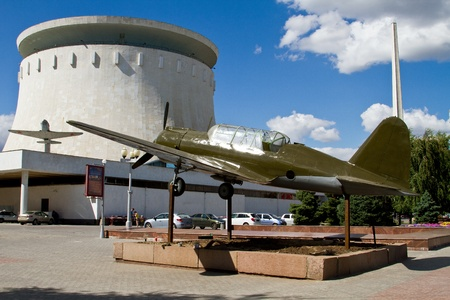 VOLGOGRAD - JULY 22  Model of the SU-2, installed outdoors the panorama Museum of the battle of Stalingrad  July 22, 2013 in Volgograd, Russia  The monument was installed in September 1982