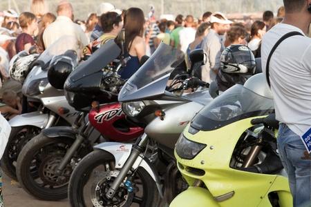 leeway: VOLGOGRAD, RUSSIA - AUGUST 23 motorcycles bikers next to the concert venue bike show Stalingrad   August 23, 2013 in Volgograd, Russia