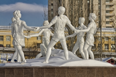 VOLGOGRAD - DECEMBER 12  Reconstructed fountain  children s dance  installed on the square in front of the train station  december 12, 2013 in Volgograd, Russia