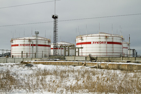 VOLGOGRAD - FEBRUARY 7 Storage of light petroleum products on the territory of the refinery, with the inscription LUKOIL   February 7, 2014 in Volgograd, Russia