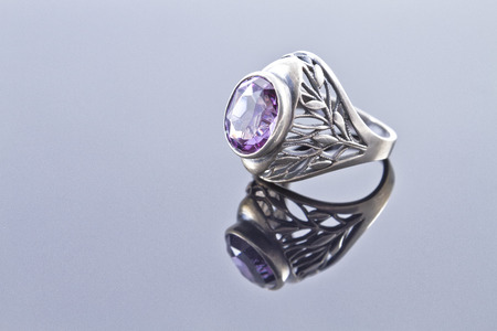 Unusual silver ring with a pattern of alexandrite photo