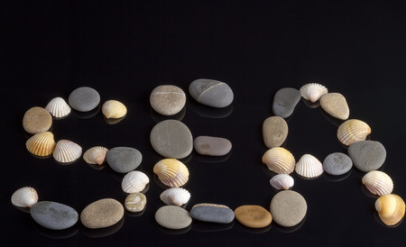 The word SEA lined with colorful sea stones shells on a reflective surface photo