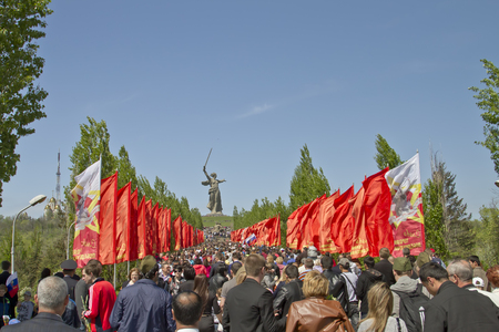VOLGOGRAD - MAY 9 A huge number of people rises up the stairs on the Mamayev Kurgan in the victory day   May 9, 2014 in Volgograd, Russia