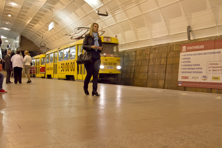 volgograd: VOLGOGRAD - MAY 9  The high-speed tram arrives at the underground station Lenin Square  May 9, 2014 in Volgograd, Russia  Volgograd only Russian city where underground ride the tram