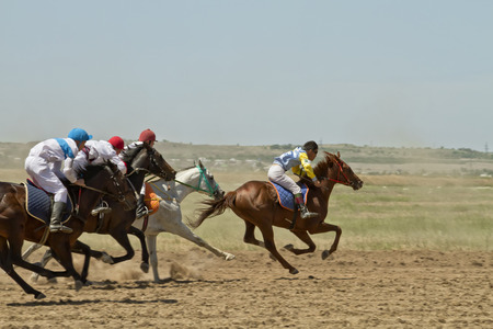 SMALL CHAPURNIKI, VOLGOGRAD, RUSSIA - MAY 24 The fight for the leading position in the race horses during the horse races devoted to celebration of the Sabantuy   May 24, 2014 in Volgograd, Russia