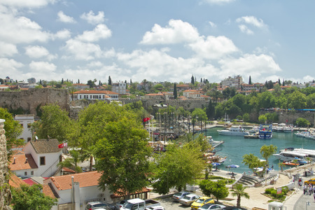 ANTALYA, TURKEY - MAY 14  Yachts and sailing ships anchored in the port of the old town  May 14, 2014 in Antalya, Turkey  Editoriali
