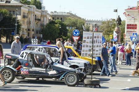 VOLGOGRAD - SEPTEMBER 6:Machine to race across rugged terrain at an exhibition under the open sky . September 6, 2014 in Volgograd, Russia.