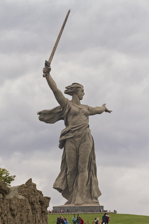 View of the statue the Motherland Calls on a cloudy day.