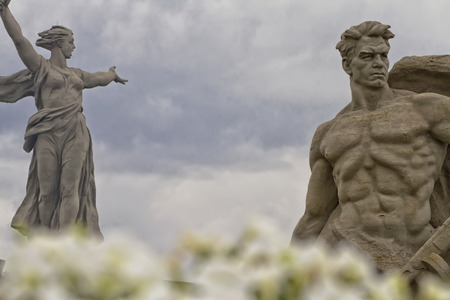 volgograd: VOLGOGRAD - SEPTEMBER 28: View of the statue the Motherland Calls! on a cloudy day. September 28, 2014 in Volgograd, Russia. Stock Photo