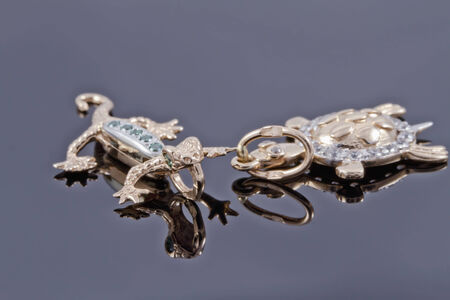 Unusual gold pendant in the form of a lizard and turtle photo