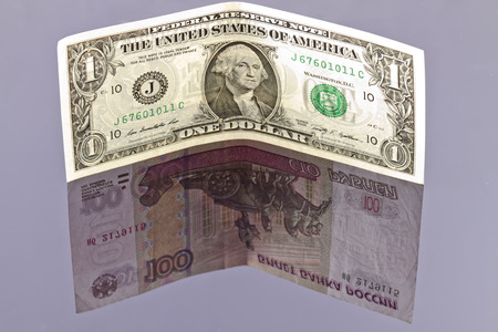 exceeded: Exchange rate of the dollar exceeded a hundred rubles Stock Photo