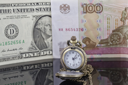 reflectivity: weakening of the ruble exchange rate to the dollar Stock Photo