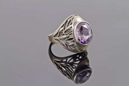 reflectance: Unusual old silver ring with gemstone