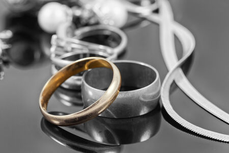 reflectance: Black and white photograph jewelry with color gold ring Stock Photo