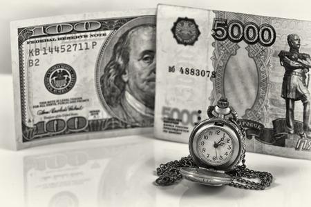 weakening: weakening of the ruble exchange rate to the dollar Stock Photo