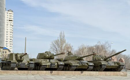t34: VOLGOGRAD - MARCH 20: Museum exhibits of the panorama of the battle of Stalingrad. March 20, 2015 in Volgograd, Russia.