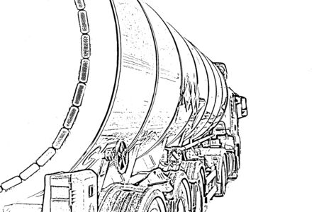 delineation: truck with a tank for the transport of petroleum products is on the paved lot in the industrial zone Stock Photo