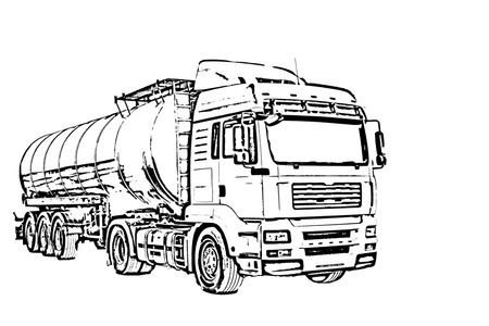 filth: sketch of a large truck with a tank Stock Photo