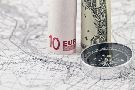 depict: banknotes of the Euro and the dollar depict the pillars on the virtual frontier Stock Photo