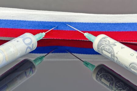 penalty flag: Syringes with dollars and euros pierce the ribbon of the Russian flag