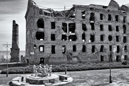 the nazis: VOLGOGRAD - MARCH 20: The ruins of the mill of Gerhardt - surviving building after the bombing by the Nazis of Stalingrad . March 20, 2015 in Volgograd, Russia.