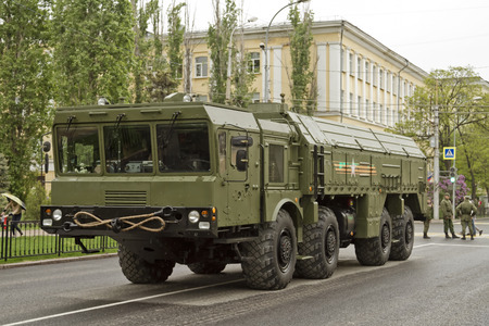 wheeled tractor: VOLGOGRAD - MAY 9: Heavy wheeled tractor rocket forces of Russia was on the third column of armored vehicles in the victory parade. May 9, 2015 in Volgograd, Russia. Editorial