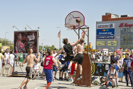 VOLGOGRAD, RUSSIA - MAY 24: shot from under the basket after a good combination. Annual streetball party organized Europa city Mall, on May 24, 2015 in Volgograd, Russia.